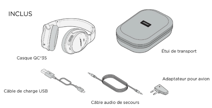 Contenu de la boite casque sans fil Bose® QuietComfort® 35