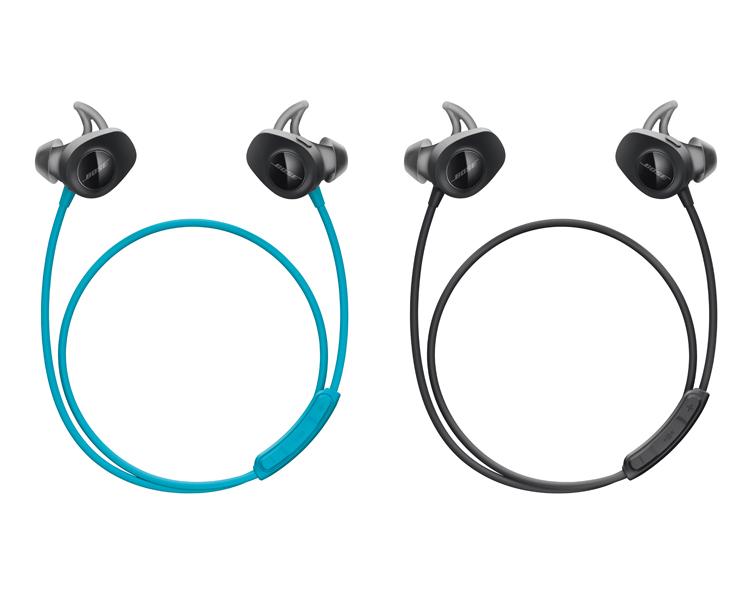 Deux casques : modèle bleu aqua et noir écouteurs sans fil Bose SoundSport